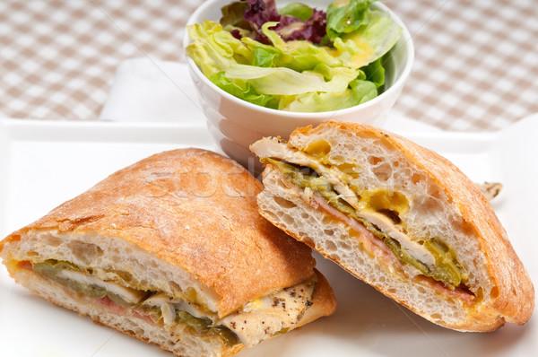 İtalyan panini sandviç tavuk geleneksel sebze Stok fotoğraf © keko64