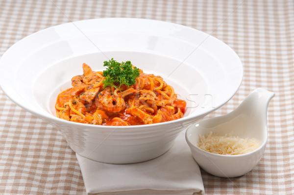 イタリア語 スパゲティ パスタ トマト 鶏 ソース ストックフォト © keko64