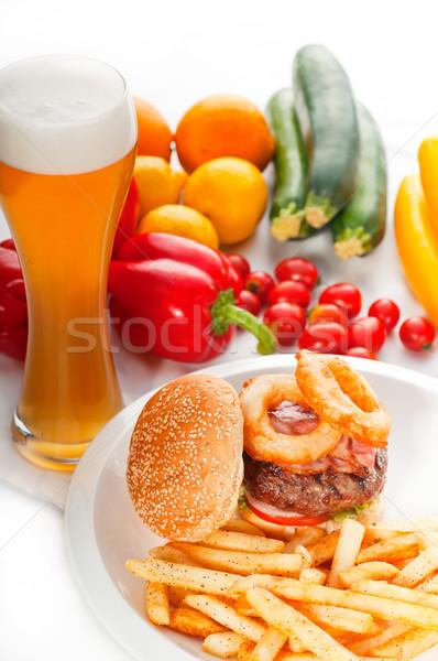 classic hamburger sandwich and fries Stock photo © keko64