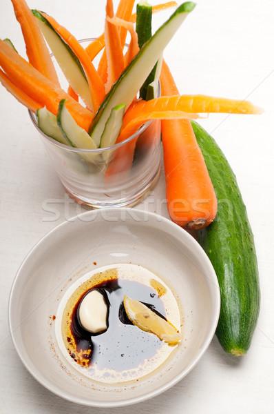 Сток-фото: свежие · закуска · сырой · морковь · огурца