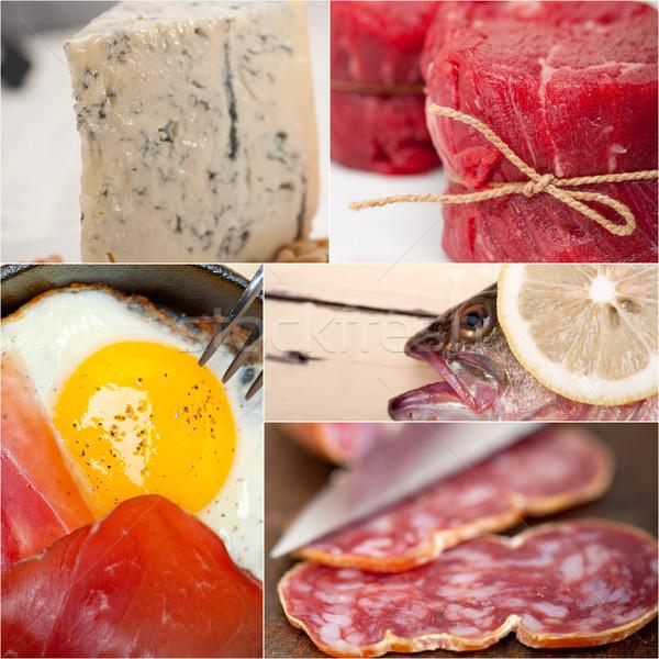 Alto proteine alimentare raccolta collage bianco Foto d'archivio © keko64