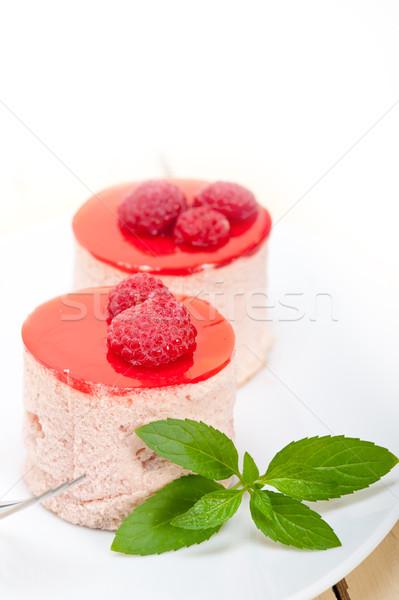 Foto stock: Frescos · frambuesa · torta · postre · forma · menta
