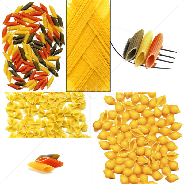 Foto stock: Tipo · italiano · macarrão · colagem · praça