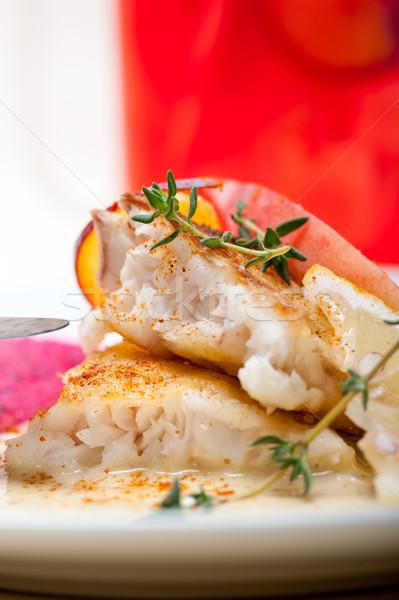 Mar filé manteiga panela frito fresco Foto stock © keko64