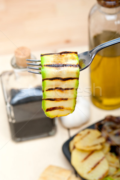 Gegrillt Zucchini Zucchini Gabel Makro Stock foto © keko64