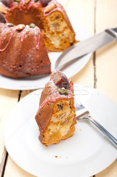 Kastanje cake brood dessert vers amandelen Stockfoto © keko64