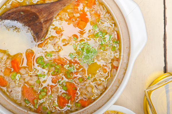 Syrian barley broth soup Aleppo style Stock photo © keko64