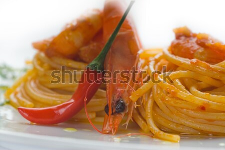 пасты пряный итальянский спагетти свежие соус Сток-фото © keko64