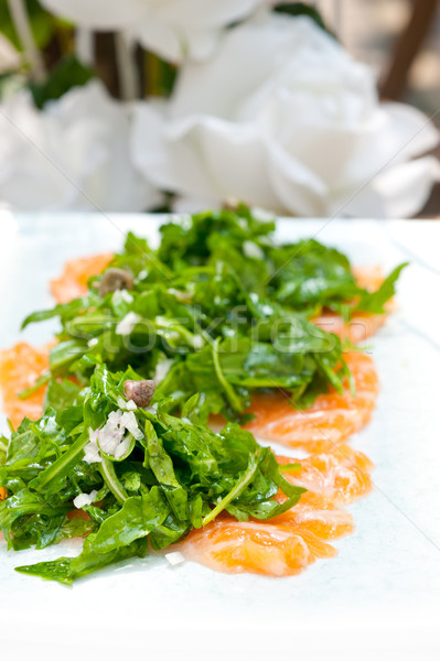 fresh salmon carpaccio Stock photo © keko64