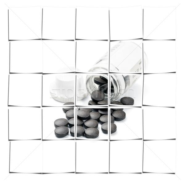 Pílulas marrom vidro garrafa branco saúde Foto stock © keko64