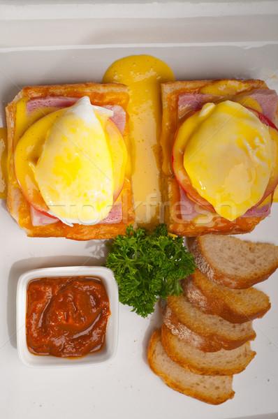 Stok fotoğraf: Yumurta · ekmek · domates · jambon · taze · gıda