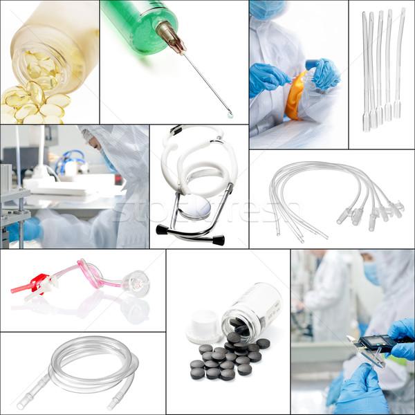 Foto stock: Médico · colagem · mosaico · branco · quadro · médico