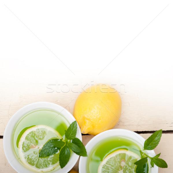 Nane demleme çay limon taze sağlıklı Stok fotoğraf © keko64