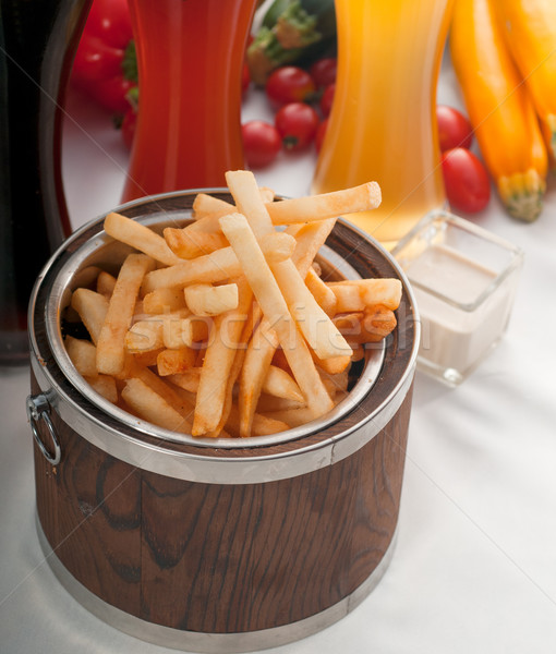 Сток-фото: свежие · картофель · фри · ковша · древесины · свежие · овощи · пива