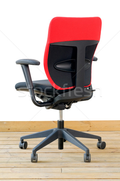 Modern kırmızı ofis koltuğu ahşap zemin beyaz iş Stok fotoğraf © keko64
