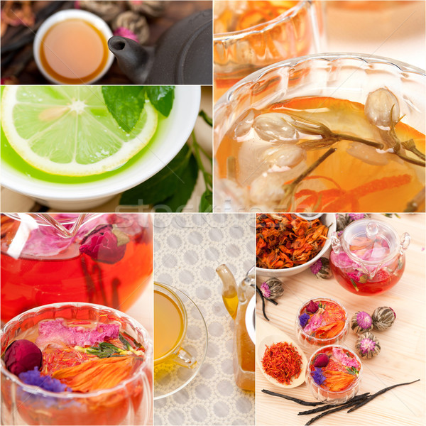 Stock photo: collection of different herbal tea infusion collage