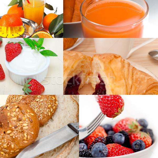 ealthy vegetarian breakfast collage Stock photo © keko64