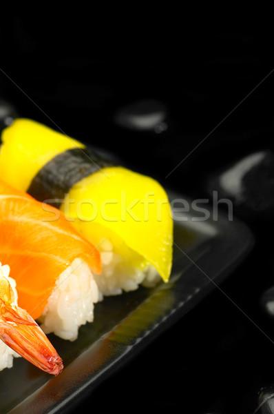 Sushi plaat vers zwarte vis diner Stockfoto © keko64