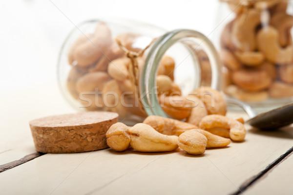 Cachou noten glas jar witte rustiek Stockfoto © keko64