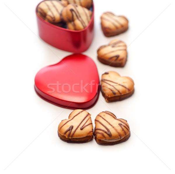 Szív alakú krém sütik piros fém Stock fotó © keko64