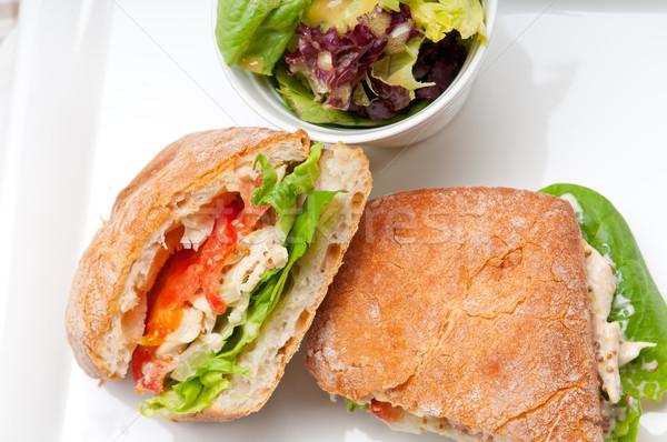 Panini sandviç tavuk domates İtalyan gıda Stok fotoğraf © keko64