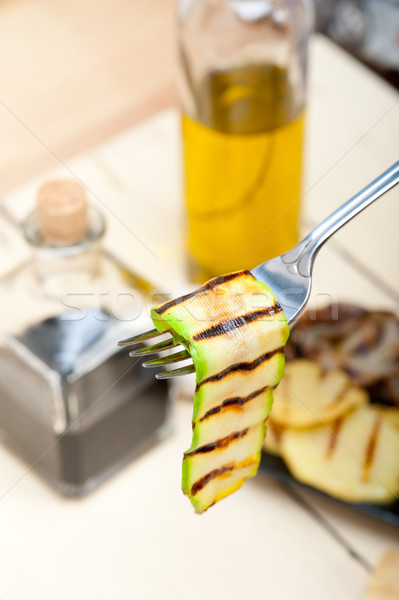 grilled zucchini courgette on a fork Stock photo © keko64
