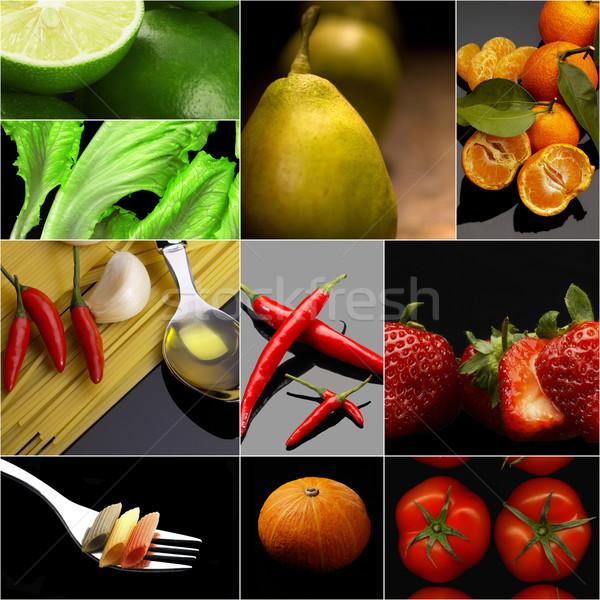 органический вегетарианский вегетарианский продовольствие коллаж темно Сток-фото © keko64