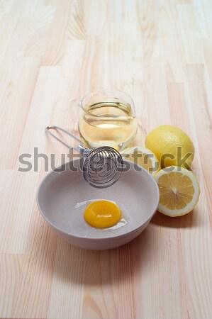 Vers mayonaise saus keuken houten tafel Stockfoto © keko64