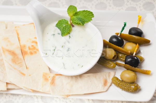 ギリシャ語 ヨーグルト ディップ ピタ麻 パン 新鮮な ストックフォト © keko64