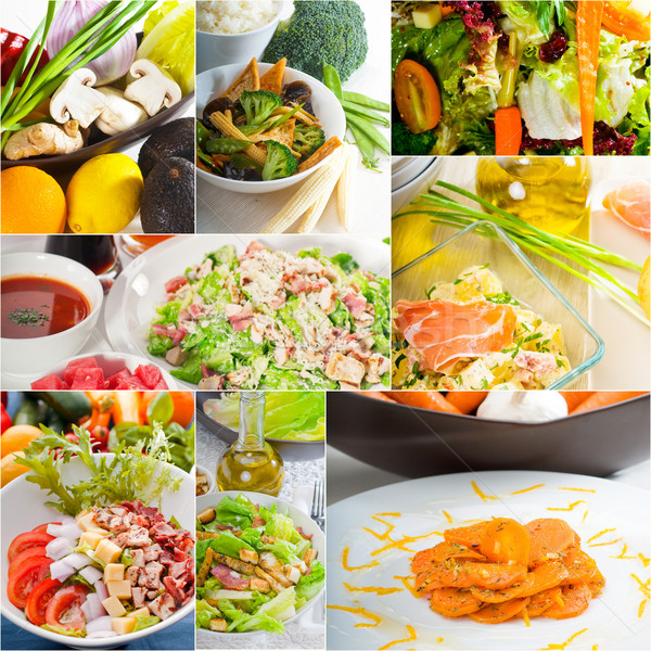 salad collage composition nested on frame Stock photo © keko64
