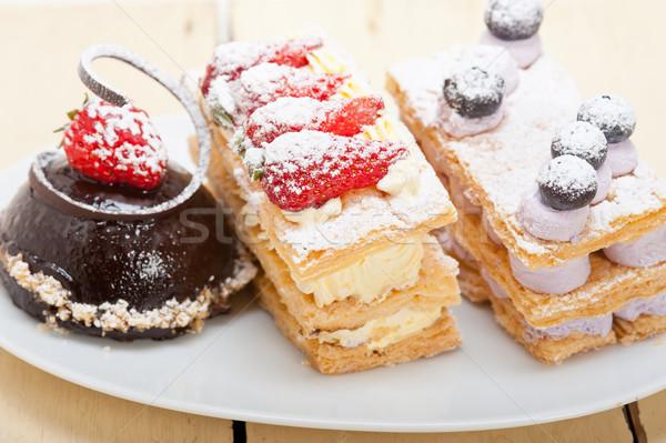 selection of fresh cream cake dessert plate  Stock photo © keko64
