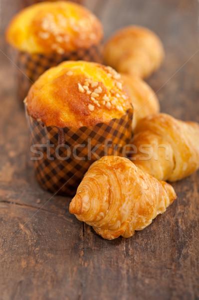 fresh baked muffin and croissant mignon Stock photo © keko64