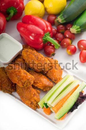 Stockfoto: Kip · vleugels · geserveerd · klassiek · vers · groenten