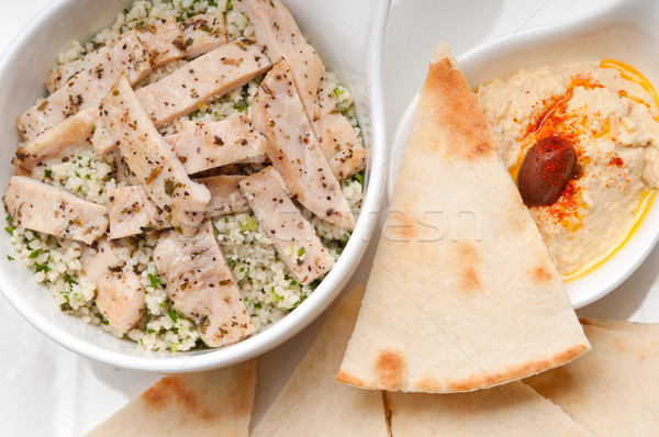 chicken taboulii couscous with hummus Stock photo © keko64