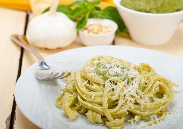 Foto stock: Italiano · tradicional · albahaca · pesto · pasta · ingredientes