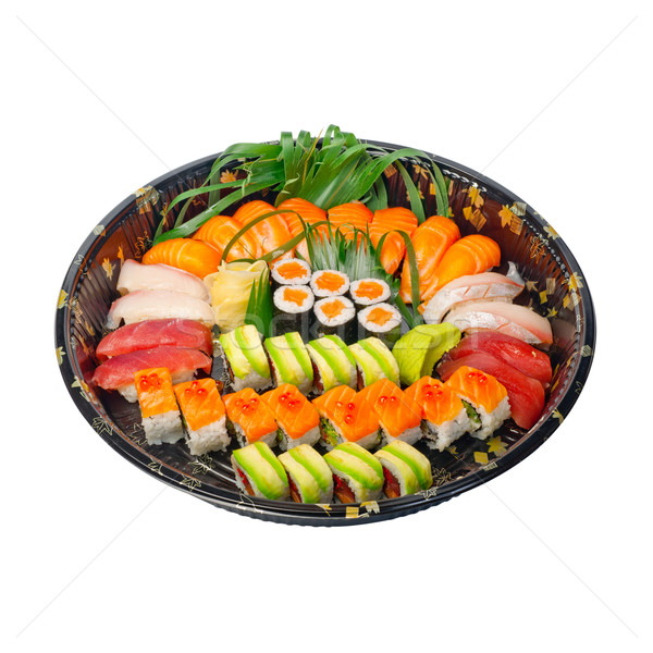Stock photo: take away sushi express on plastic tray