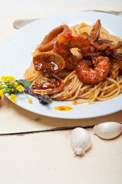 Italiana frutti di mare spaghetti pasta rosso salsa di pomodoro Foto d'archivio © keko64