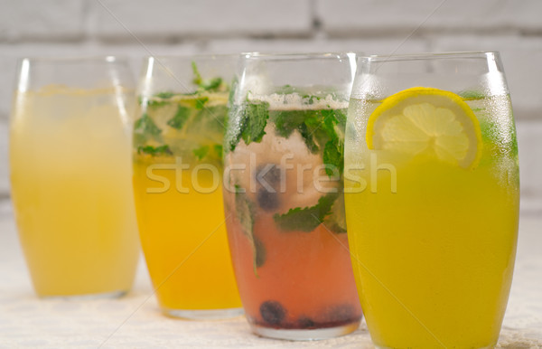 selection of fruits long drinks Stock photo © keko64