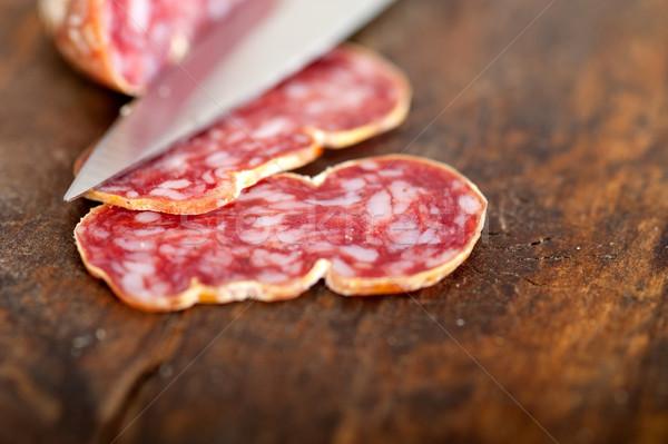 italian salame pressato pressed slicing Stock photo © keko64