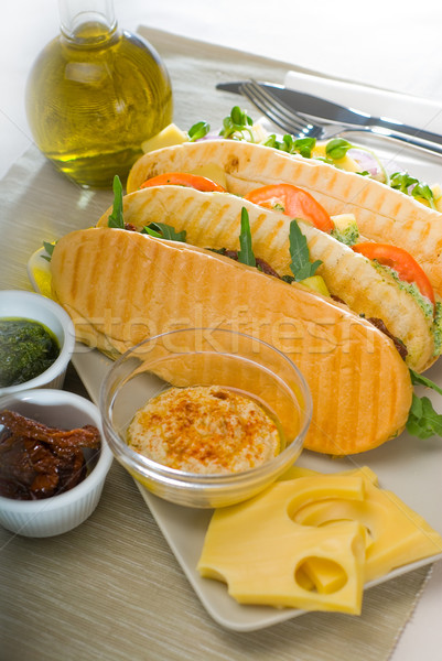 Panini sandviç taze ev yapımı vejetaryen Stok fotoğraf © keko64