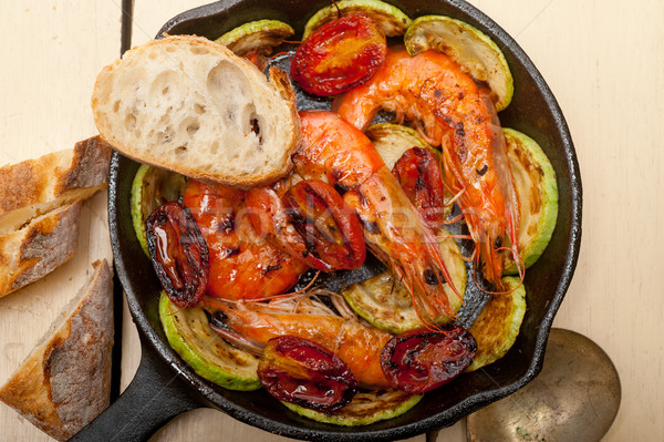 roasted shrimps with zucchini and tomatoes Stock photo © keko64