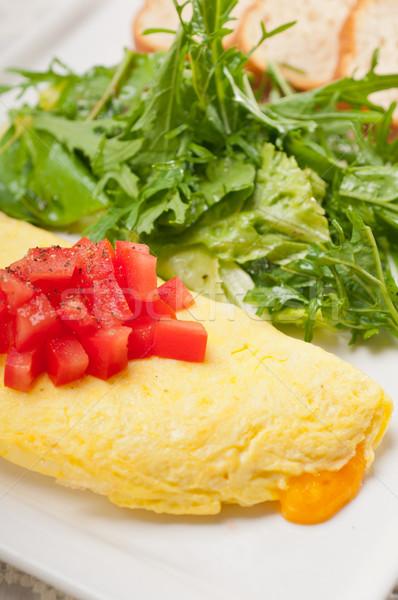 cheese ometette with tomato and salad Stock photo © keko64
