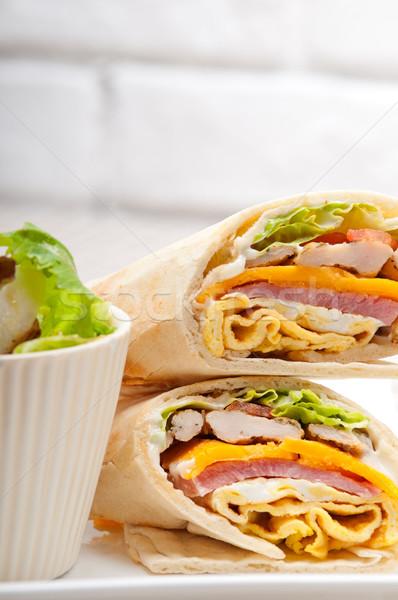 Klub szendvics pita kenyér zsemle friss egészséges Stock fotó © keko64