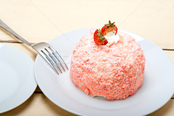 fresh strawberry and whipped cream dessert Stock photo © keko64