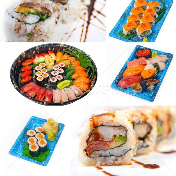 Japoński sushi kolaż wiele naczyń biały Zdjęcia stock © keko64