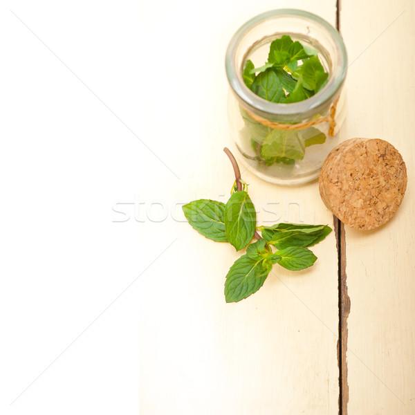 新鮮な ミント 葉 ガラス jarファイル 素朴な ストックフォト © keko64