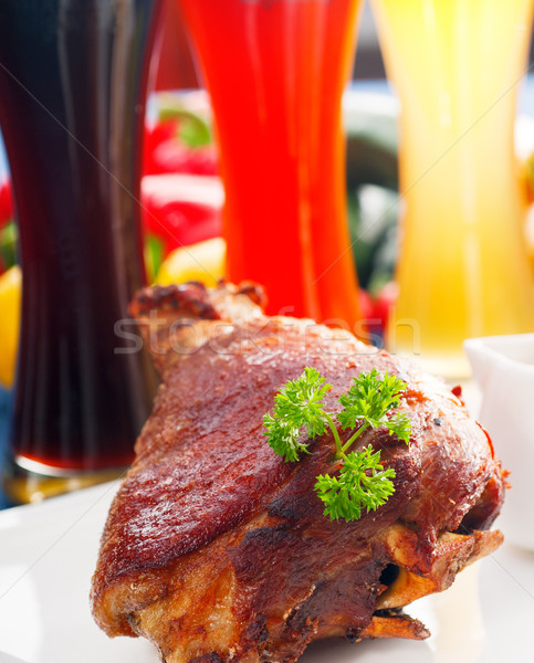 Orijinal bbq domuz eti hizmet patates lâhana turşusu Stok fotoğraf © keko64