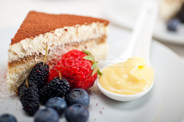 tiramisu dessert with berries and cream Stock photo © keko64