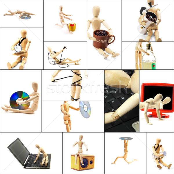 Madeira manequim colagem diferente pose conceitos Foto stock © keko64