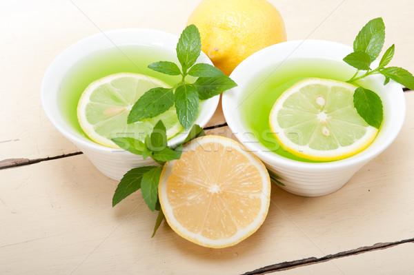 Menthe perfusion thé citron fraîches saine Photo stock © keko64